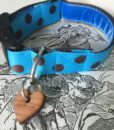 Scrufts' Bloo Turquoise and Brown Polka Dot Dog Collar