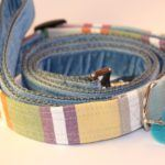 Scrufts' Cassata Pastel Striped Dog Collar and Wedgewood Blue Velvet Dog Lead