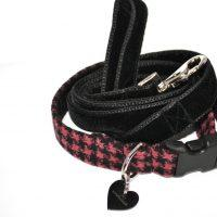 Scrufts' Blackberry Tweed Dog Collar and Black Velvet Lead