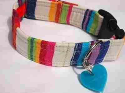 Brighton RocksCotton and Velvet Dog Collar