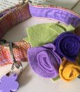 Scrufts Cinnabar Donegal Tweed Velvet Lined Dog Collar with Detachable Posy