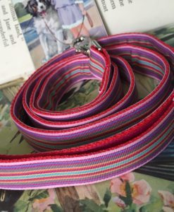 Scrufts' Mivvi Pink Mul;ti Striped, Velvet Lined Dog Lead