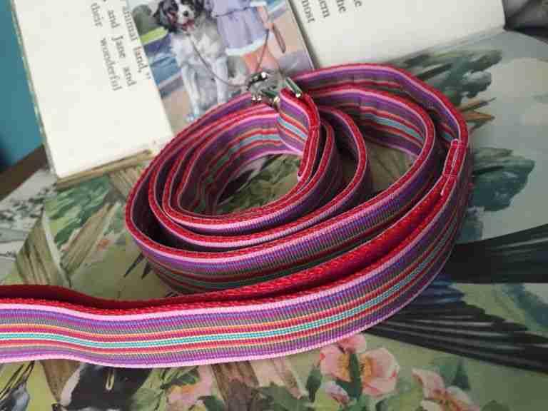 Scrufts' Mivvi Pink Mul;ti Striped, Velvet Lined Dog Lead
