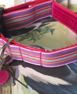 Scrufts' Mivvi Pink Multi Striped, Velvet Lined Dog Collar