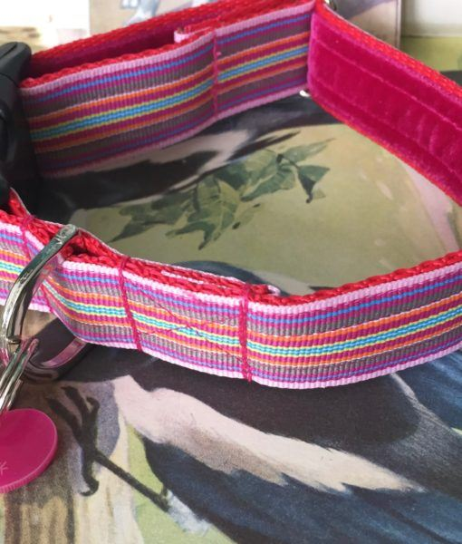 Scrufts' Mivvi Pink Multi Striped, Velvet Lined Dog Collar