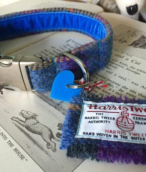 Scrufts' Beautiful Blue Harris Tweed Velvet Lined Dog Collar