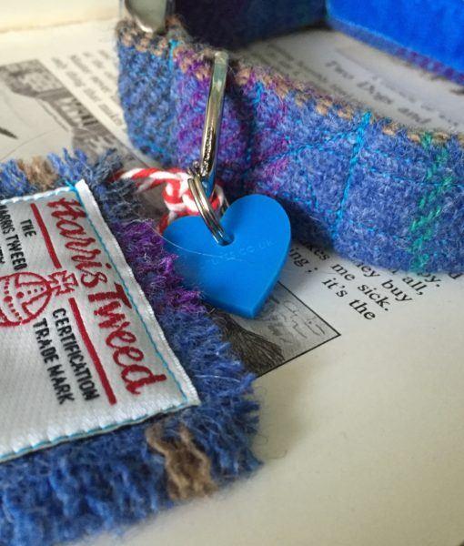 Scrufts' Beautiful Blue Harris Tweed Velvet Lined Dog Collar