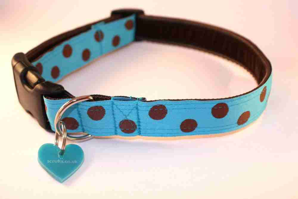 Scrufts' Bloo Turqoise and Toffee Polka Dot Dog Collar