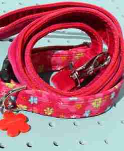 Scrufts' Mabel Pink Corduroy Floral Dog Collar and Plum Velvet Lead