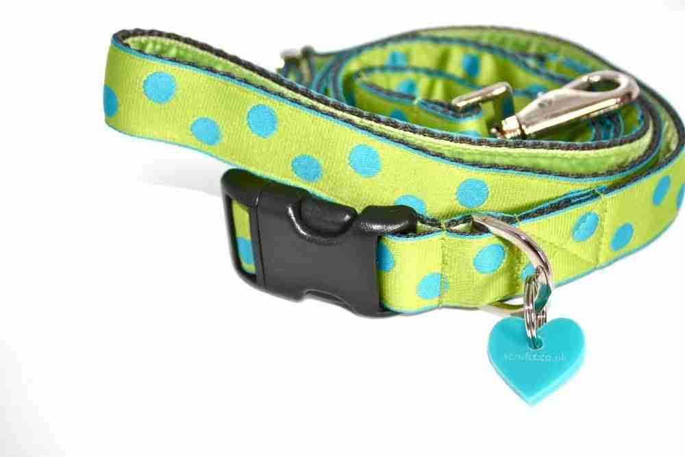 Scrufts' Luscious Lime Polka Dot Dog Collar and Lead