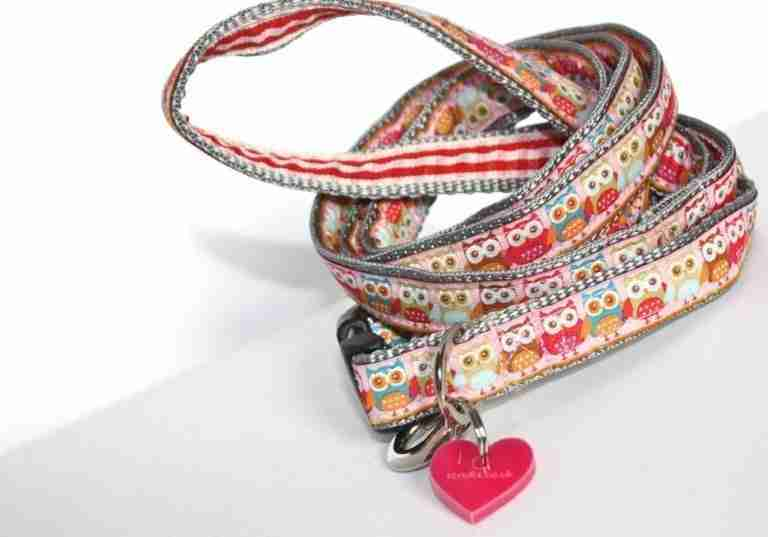 Scrufts' Mini Pink Owlet Dog Collar and Lead for Puppies and Small Dogs