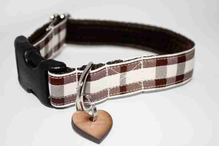 Scrufts' Bitter Chocolate and Chalk Checked Dog Collar