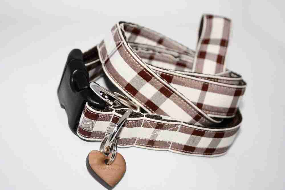 Scrufts' Bitter Chocolate and Chalk Checked Dog Collar and Lead