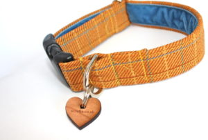 Handmade designs. Scrufts Rupert Saffron Tweed Dog Collar