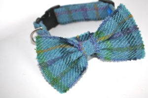 Handmade designs. . Scrufts Sea Blue Harris Tweed Dog Collar with Detachable Bow Tie