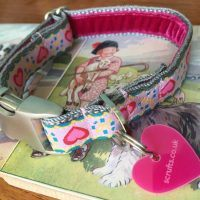 Scrufts' Queen of Hearts Velvet Lined Dog Collar and Lead for Puppies and Small Dogs