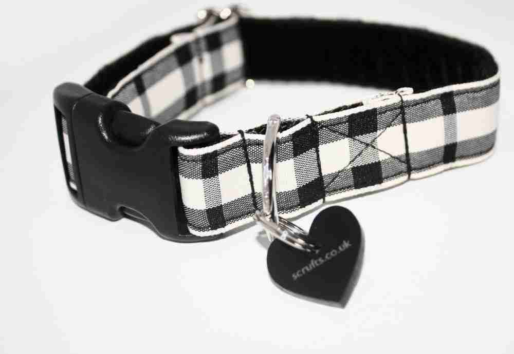 Scrufts' Charcoal and Chalk Checked Dog Collar