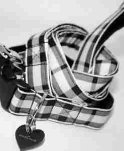 Scrufts' Charcoal and Chalk Checked Dog Collar and Lead