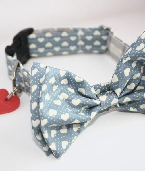 Scrufts' Blue Boy Valentine's Bow Wow Wow Tie Dog Collar