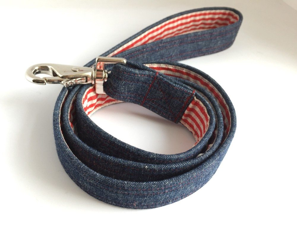 Scrufts' Levi Denim and Gingham Dog Lead