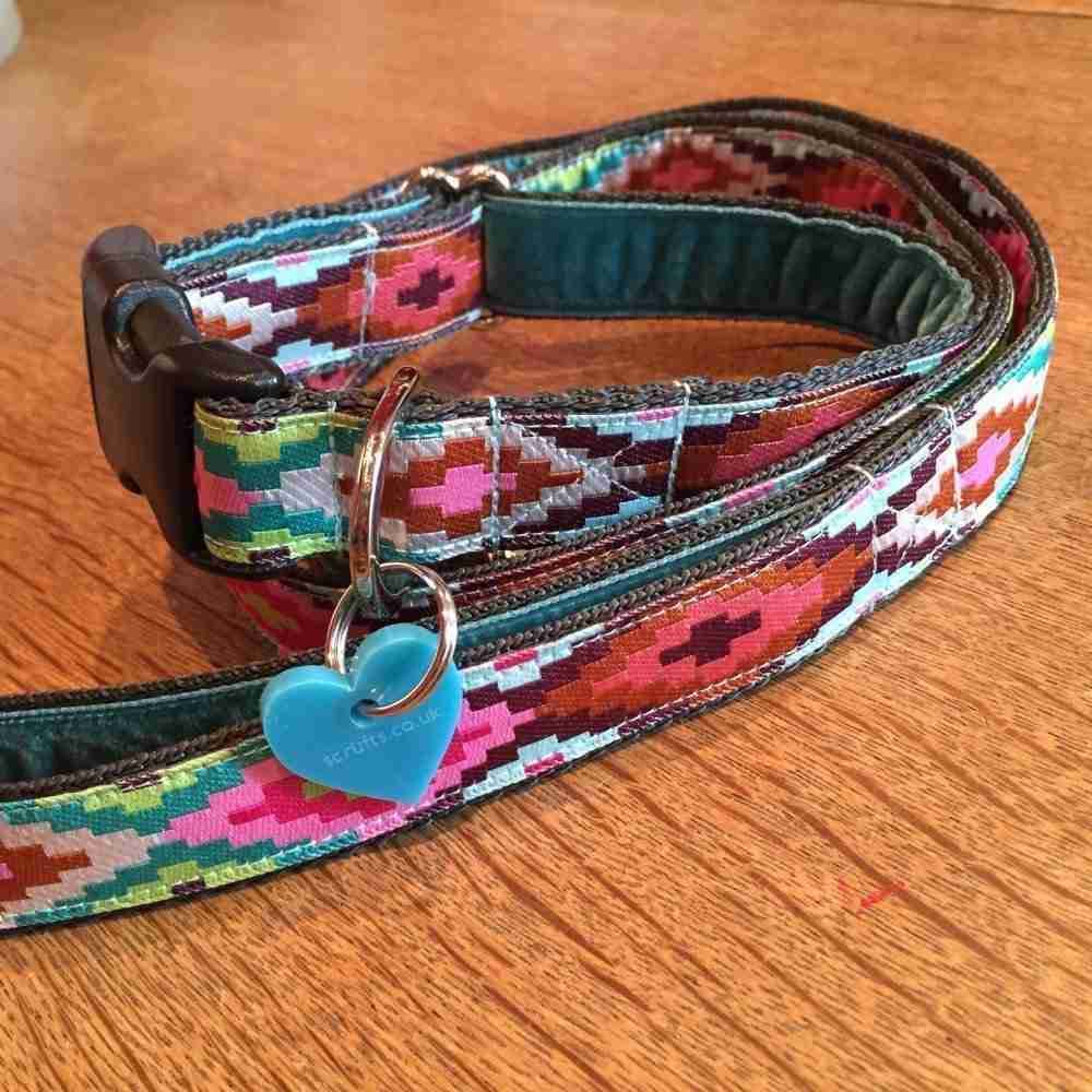 Scrufts Nevada Velvet Lined Dog Collar and Lead
