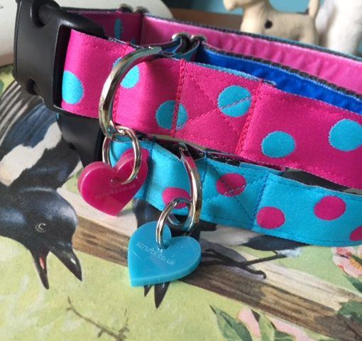 Scrufts' Tropical Pink and Turqoise Dotty Dog Collar