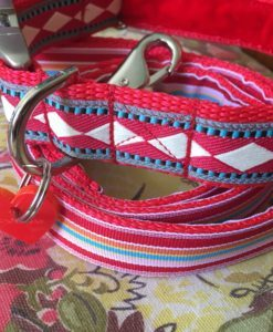 Scrufts' Fez Velvet Lined Harlequin Inspired Dog Collar and Lead