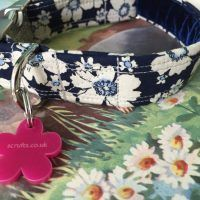 Scrufts Blue Cammomile Velvet Lined Dog Collar