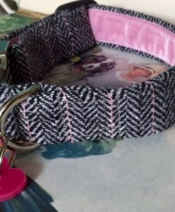 Scrufts' Peony Velvet Lined Tweed Dog Collar
