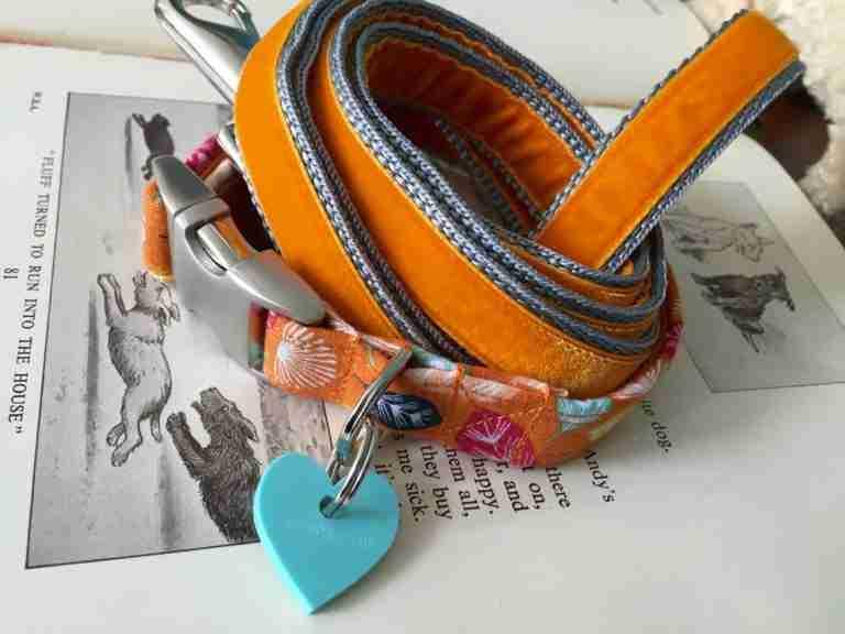 Scrufts' Mini Little Fern Velvet Lined Dog Collar and Orange Velvet Lead