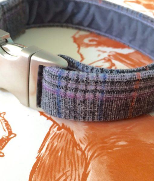 Scrufts Marple Grey Heather Tweed Velvet Lined Dog Collar