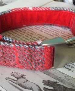 Scrufts' Ruby Red Harris Tweed Velvet Lined Dog Collar