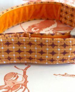 Scrufts' Dusty Orange Geometric Retro Velvet Lined Dog Collar