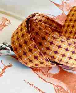 Scrufts' Dusty Orange Geometrilc Retro Velvet Lined Dog Lead