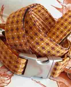 Scrufts' Dusty Orange Geometrilc Retro Velvet Lined Dog Collar and Lead
