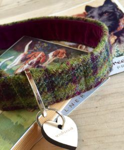 Scrufts' Damson Tweed Velvet Lined Dog Collar