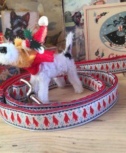 Scrufts' Mini Christmas Pingu Dog Lead in Festive Red