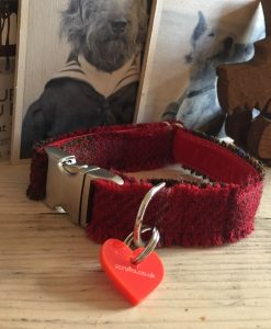 Scrufts' Skinny Berry Crumble Velvet Lined Harris Tweed Dog Collar