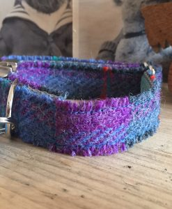 Scrufts' Skinny Heather Blue Velvet Lined Harris Tweed Dog Collar