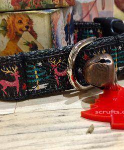 Scrufts' Christmas Sky-at-Night Prancer Velvet Lined Dog Collar