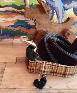 Scrufts' Sherlock Tweed Dog Collar and Watson Brown Velvet Dog Lead