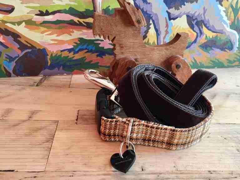 Scrufts' Sherlock Tweed Dog Collar and Watson Brown Velvet Dog Lead