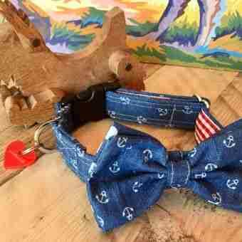 Scrufts' Salty Dog Bow Wow Wow Tie Dog Collar