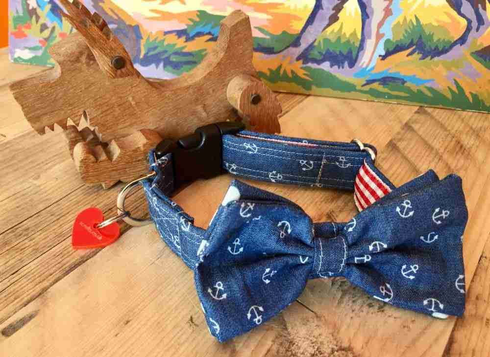 Scrufts' Salty Dog Bow Wow Wow Tie Dog Collar