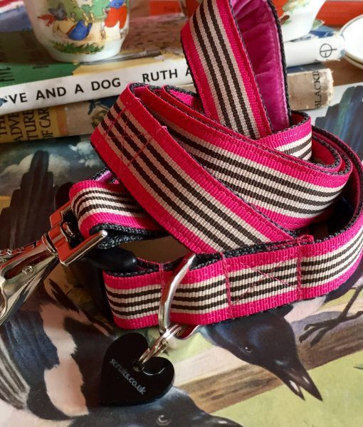 Scrufts' Liqourice Bright Pink Striped Velvet Lined Dog Collar and Lead