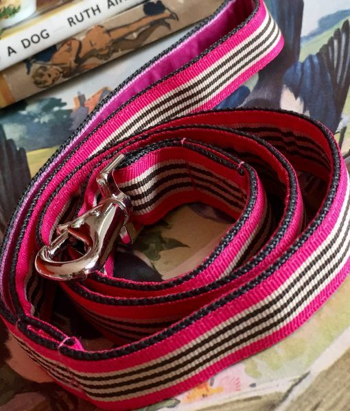 Scrufts' Liqourice Bright Pink Striped Velvet Lined Dog Lead