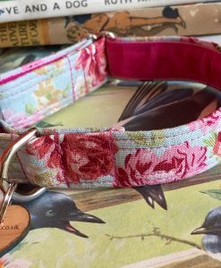 Scrufts' Petal Pale Blue Floral Velvet Lined Dog Collar