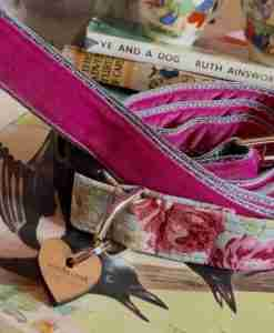 Scrufts' Petal Pale Blue Floral Velvet Lined Dog Collar and Summer Pink Velvet Lead