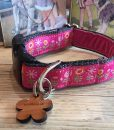 Scrufts' Tiny Garden Floral Velvet Lined Dog Collar in Pink