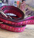 Scrufts' Tiny Garden Floral Velvet Lined Dog Collar and Lead in Pink
